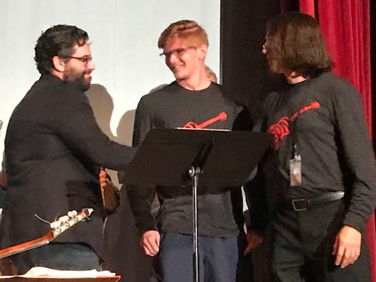 The inaugural Jeff Peck Memorial Guitar Scholarship was presented on April 11 at Leon's annual Guitar Roar concert to 9th grader Landon Foster. I