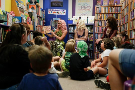 "Aphrodite reads ""The Boy Who Cried Fabulous"" by Leslie Newman during Drag Queen Story Hour at My Favorite Books Sunday, April 28, 2019."
