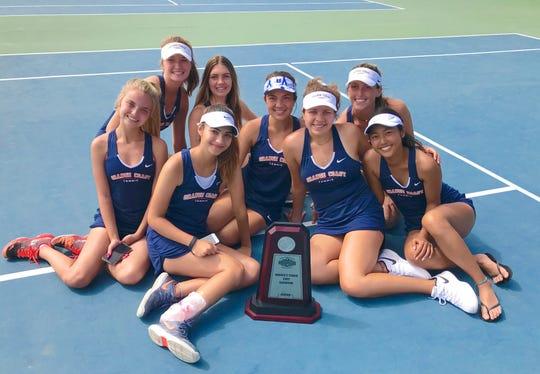 The Orange Coast College's women's tennis team won the California Community College Athletic AssociationDual Team State Championship at The Ojai.