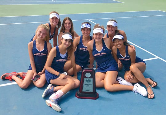 The Orange Coast College's women's tennis team won the California Community College Athletic Association Dual Team State Championship at The Ojai.