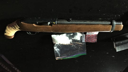 Authorities said this rifle with a sawed-off barrel and methamphetamine were seized in an Oxnard traffic stop at Roland Way and Cuesta Del Mar Drive that resulted in the arrest of Joseph Manzano, 28, of Oxnard.