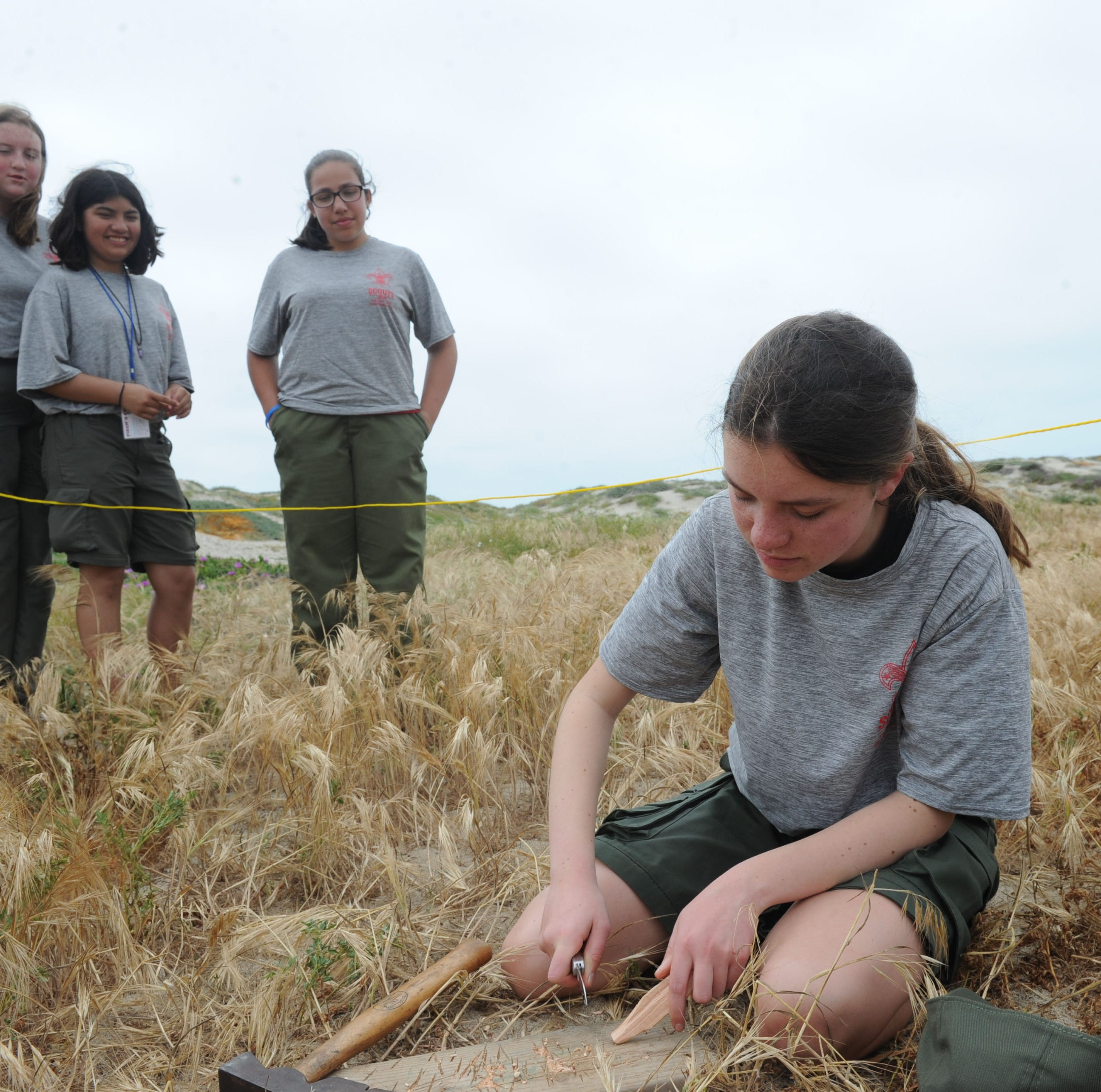 First girl troops take part in Boy Scouts of America camping event at McGrath State Beach