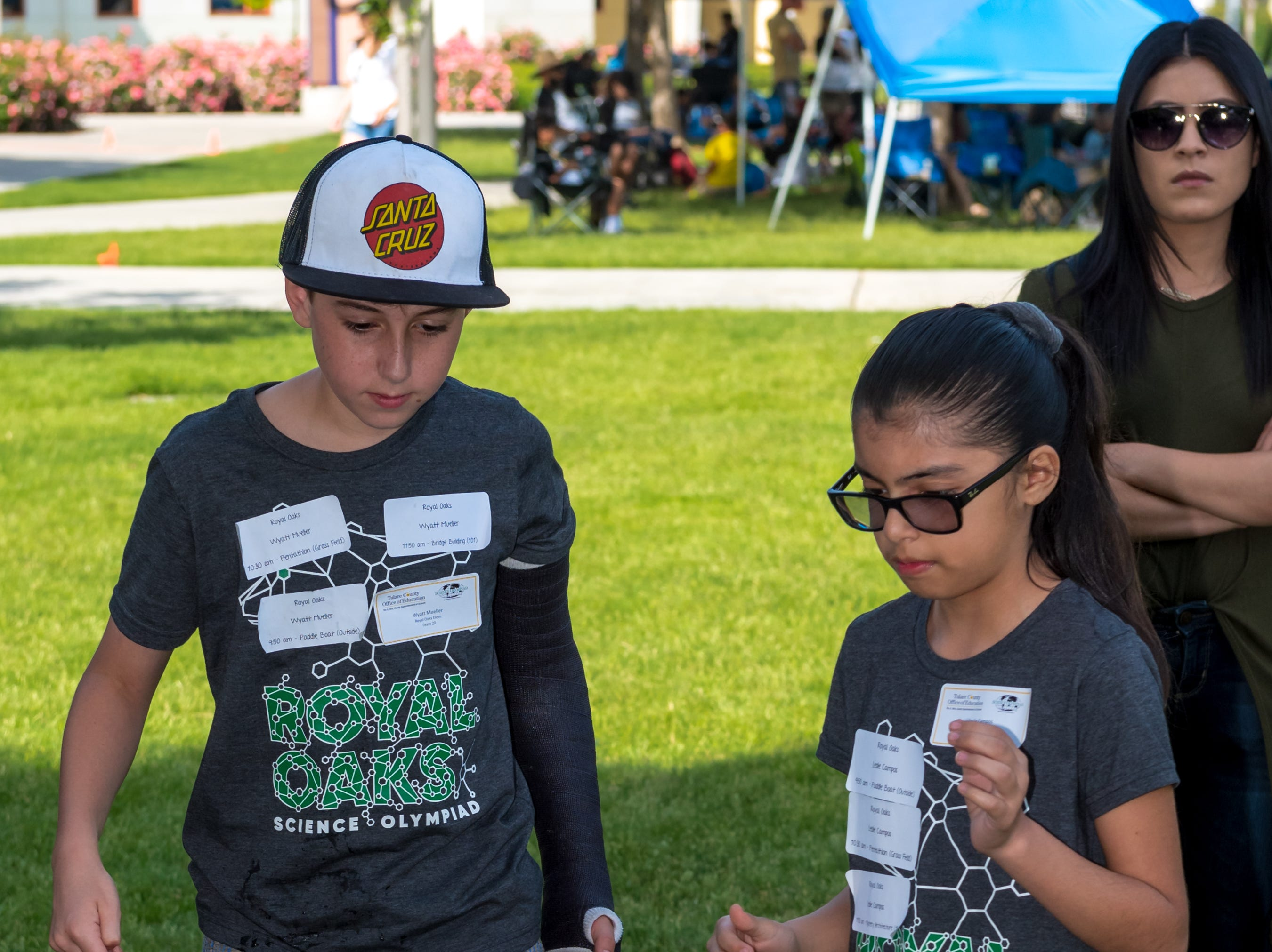 Wyatt Mueller and Leslie Campos from Royal Oaks Elementary School compete in the Boat Race at the Science Olympiad held at Mission Oak High School in Tulare, Saturday, April. 27, 2019.