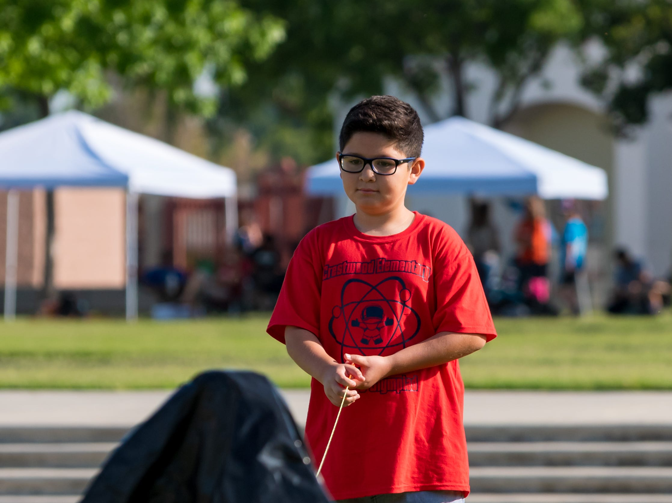 Student from Crestwood Elementary School ready to launch  a Water Rocket at the Science Olympiad held at Mission Oak High School in Tulare, Saturday, April. 27, 2019.