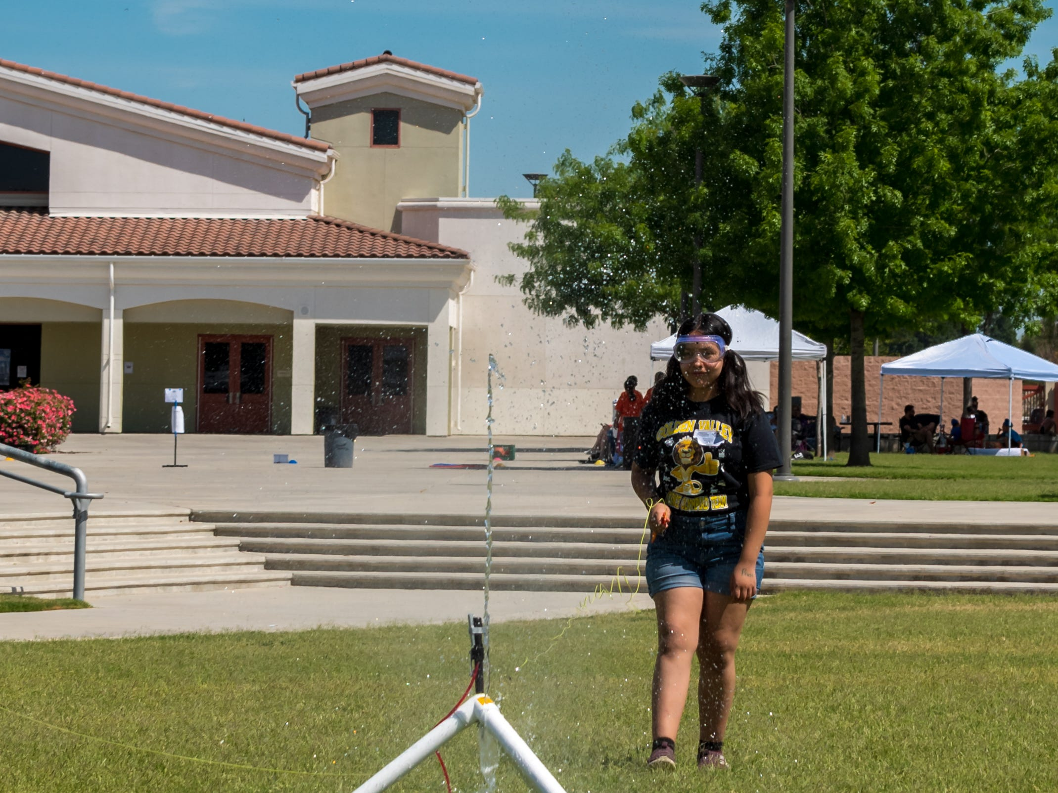 Jenny Jiminez  from Golden Valley Elementary School launches the Water Rocket at the Science Olympiad held at Mission Oak High School in Tulare, Saturday, April. 27, 2019.