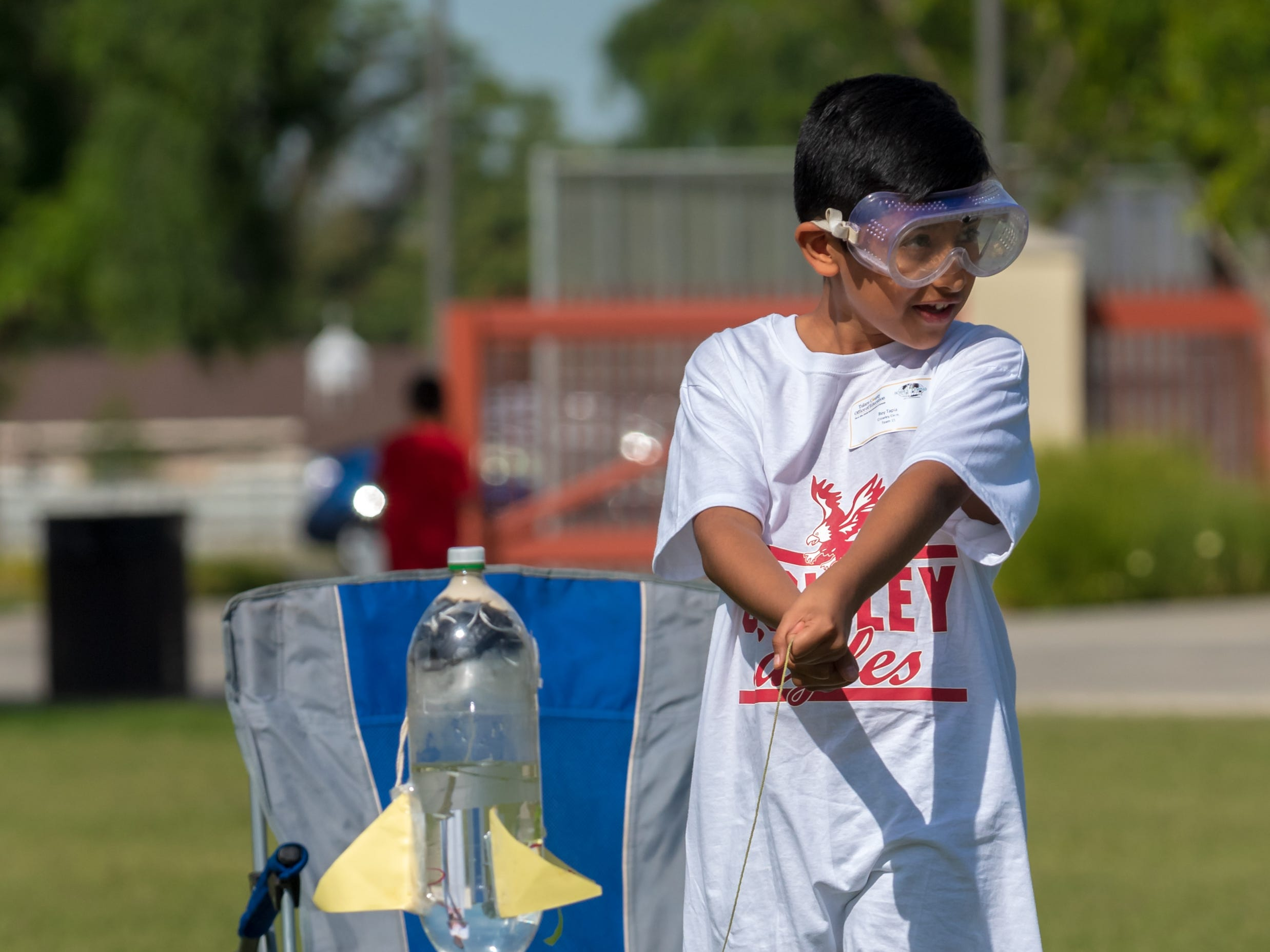 Student from Crowley Elementary School competes in the Water Rocket at the Science Olympiad held at Mission Oak High School in Tulare, Saturday, April. 27, 2019.