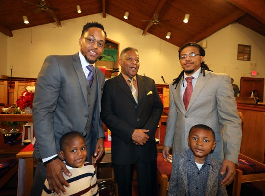 The Rev. Dr. Weldon McWilliams Jr., center, the pastor of the First Baptist Church in Spring Valley, celebrated his 47th anniversary as pastor, April 28, 2019. With him are his sons Rev. Dr. Weldon McWilliams, IV, left, and his son Weldon V and brother Delando McWilliams and his son, Delando Jr. Weldon McWilliams IV, is the pastor of the Christ Temple Baptist Church in Paterson, New Jersey, and was to speak at his father's anniversary during the celebration.