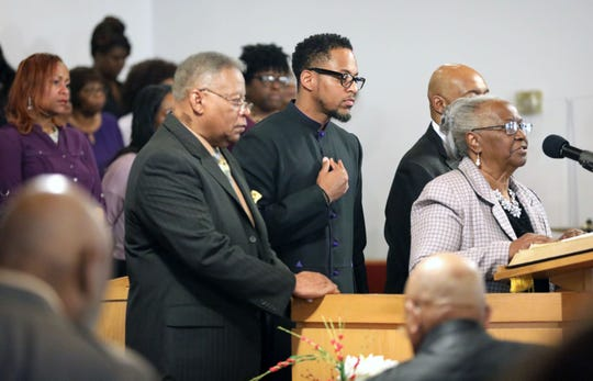 The Rev. Dr. Weldon McWilliams Jr., left, the pastor of the First Baptist Church in Spring Valley, celebrated his 47th anniversary as pastor, April 28, 2019. Looking on is his son Rev. Dr. Weldon McWilliams, IV,  the pastor of the Christ Temple Baptist Church in Paterson, New Jersey, who was to deliver the anniversary message during the celebration.