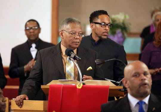 The Rev. Dr. Weldon McWilliams Jr., center, the pastor of the First Baptist Church in Spring Valley, celebrated his 47th anniversary as pastor, April 28, 2019. Looking on is his son Rev. Dr. Weldon McWilliams, IV,  the pastor of the Christ Temple Baptist Church in Paterson, New Jersey, who was to deliver the anniversary message during the celebration.