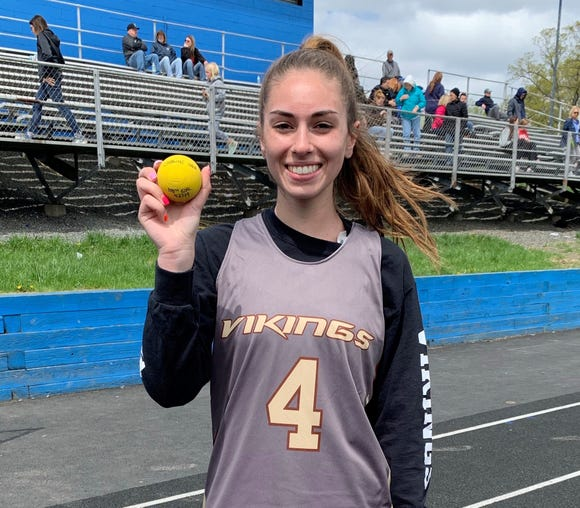Clarkstown South's Caroline Noia after scoring her 100th varsity goal