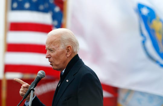 In this April 18, 2019, file photo, former Vice President Joe Biden speaks at a rally in support of striking Stop & Shop workers in Boston.