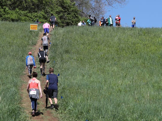 """Racers struggle up """"Muncles"""" – one of the fiendishly steep hills on the course at Granogue – during the Beau Biden Foundation Trail Run Saturday. The run, in its fourth year, expanded from 5K and 10K races to include a grueling 30K race over rough terrain."""