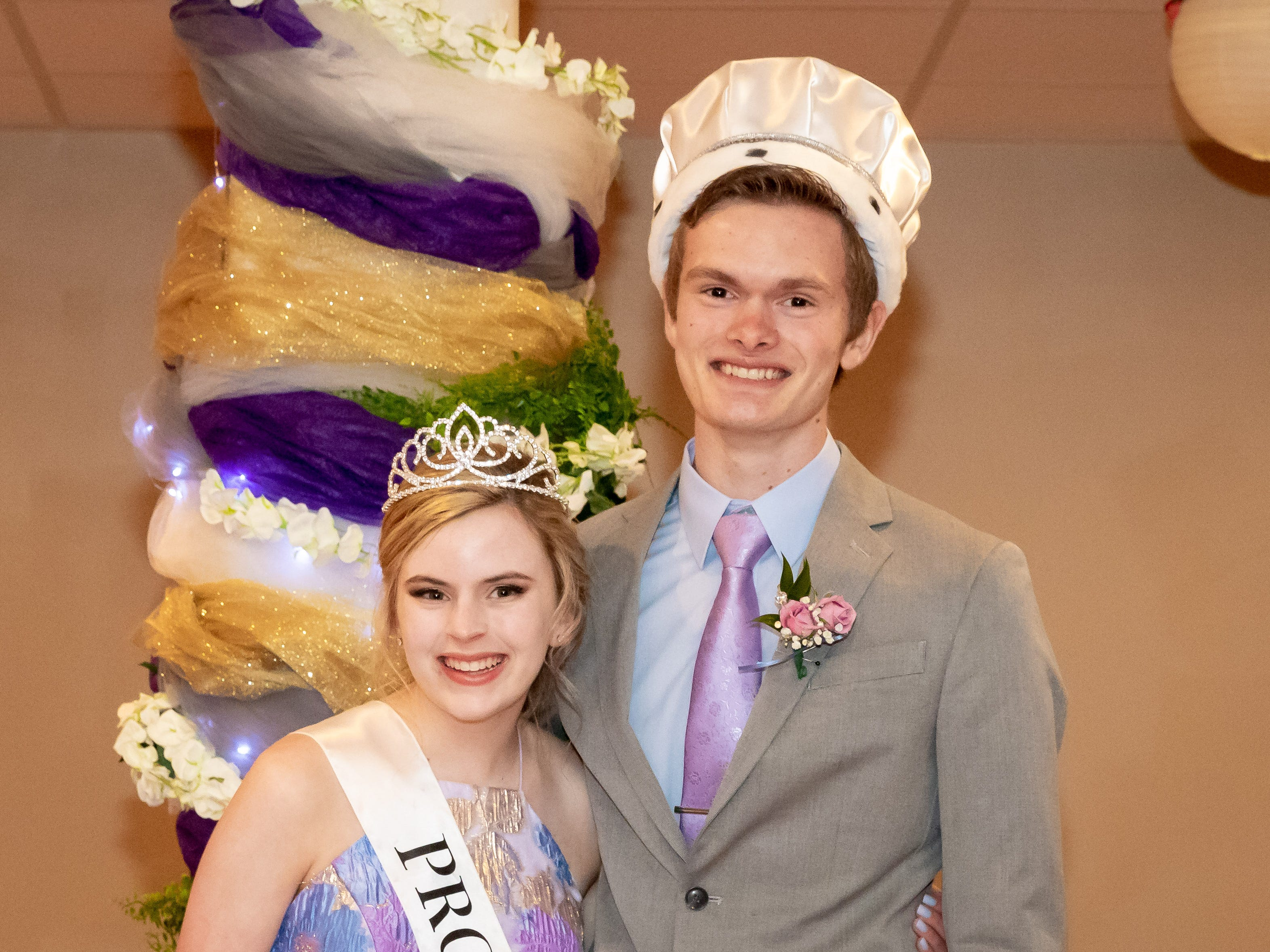 Molly McCarthy and Derek Coates were named queen and king during the John Edwards High School prom on Saturday, April 27, 2019, at the Wisconsin Rapids Elks Club.