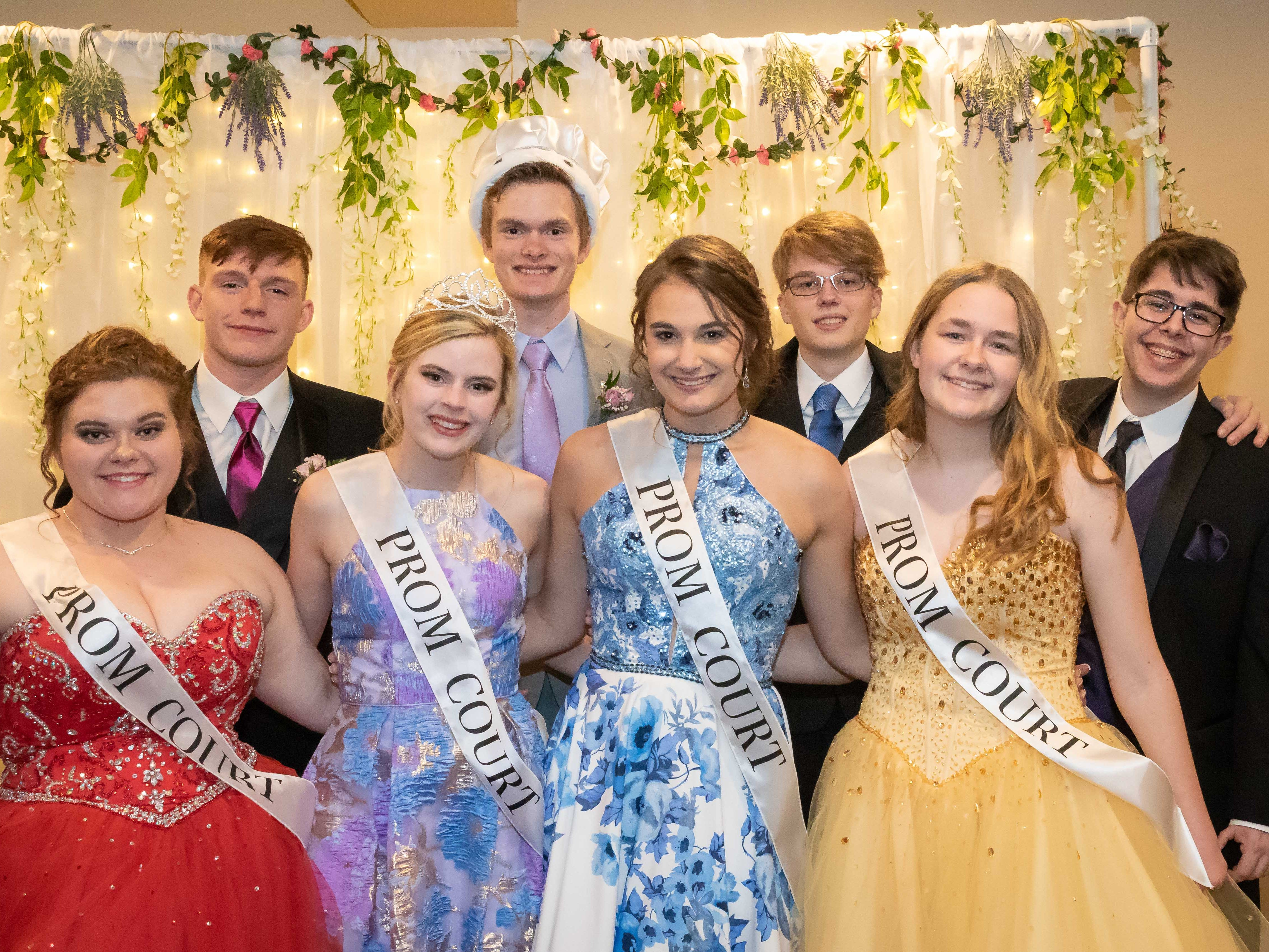 Members of the 2019 John Edwards High School prom court were Morgan Enerson, Elijah Bristow, queen Molly McCarthy, king Derek Coates, Brooklynn Ksionek, Andrew Moos, Carleana Franck and Trenton Kniprath. The prom was held Saturday, April 27, 2019, at the Wisconsin Rapids Elks Club.