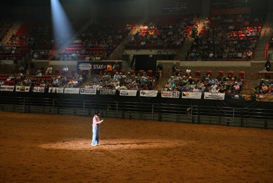 Lecile Harris performs at the PRCA Rodeo Saturday, April 27, 2019, in Kay Yeager Coliseum.