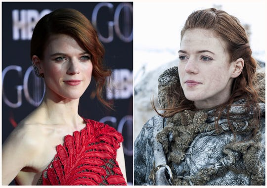 "Rose Leslie at HBO's ""Game of Thrones"" final season premiere in New York on April 3, 2019, left, and her character Ygritte."