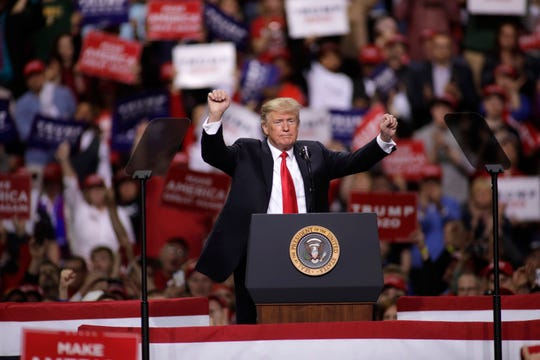 US President Donald Trump speaks to a crowd of supporters at a Make America Great Again rally on April 27, 2019 in Green Bay, Wisconsin.