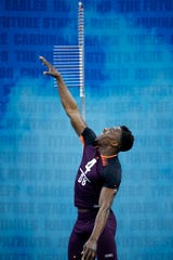 Defensive back Corey Ballentine of Washburn competes in the vertical jump during the NFL Combine in March.