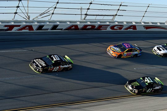 Aric Almirola (10) won the 2018 playoff race at Talladega for his second career Cup Series win.