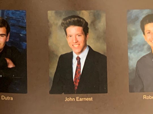 This is a yearbook photo of John T. Earnest, accused of murder in Saturday's attack on a synagogue outside San Diego.