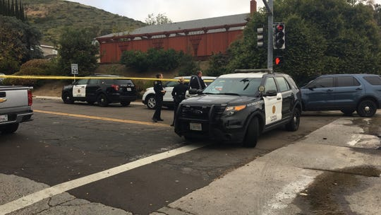 San Diego police block of roads in the Rancho Peñasquitos neighborhood of San Diego, where the suspect in the April 27, 2019, synagogue shooting may have resided.