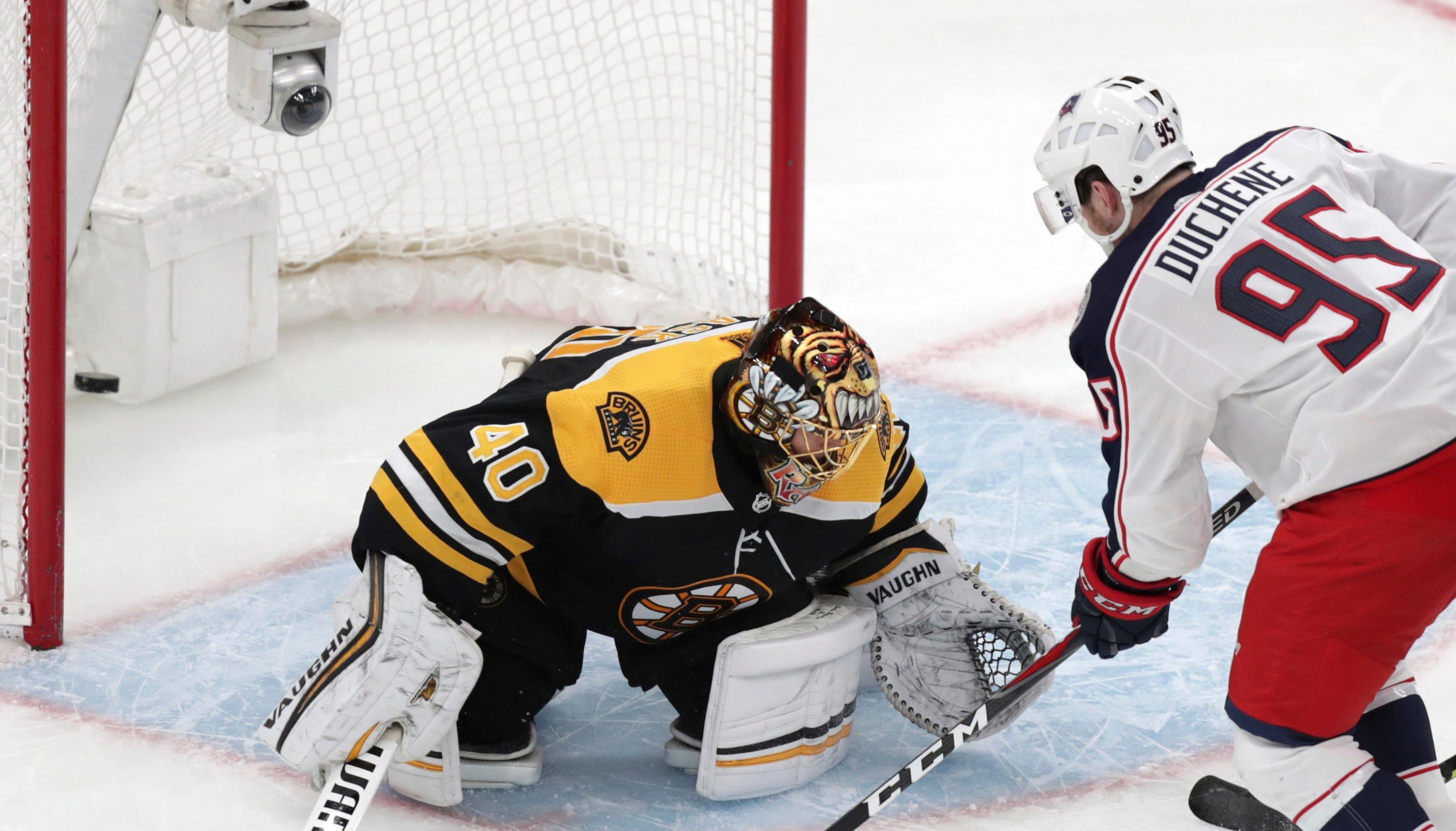 Second round: Blue Jackets center Matt Duchene scores past Bruins goaltender Tuukka Rask during the second  overtime of Game 2 for a series-tying 3-2 victory.