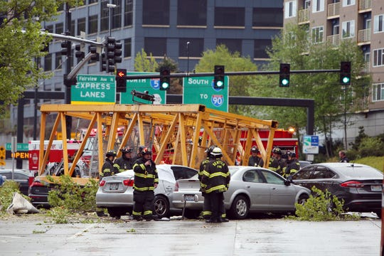 A construction crane working on a building near the intersection of Mercer Street and Fairview Avenue near Interstate 5 collapsed, Saturday afternoon, April 27, 2019, in Seattle.