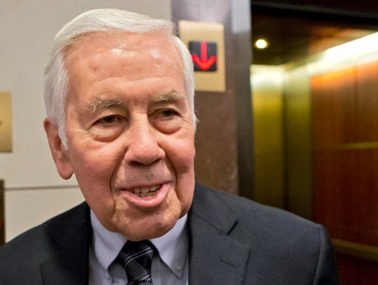 FILE - In this Nov. 13, 2012 file photo, then-Sen. Richard Lugar, R-Ind. is seen on Capitol Hill in Washington.