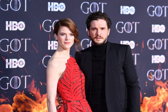 "Co-stars and spouses Rose Leslie and Kit Harington arrive for the eighth and final season premiere of ""Game of Thrones"" at Radio City Music Hall on April 3, 2019, in New York."
