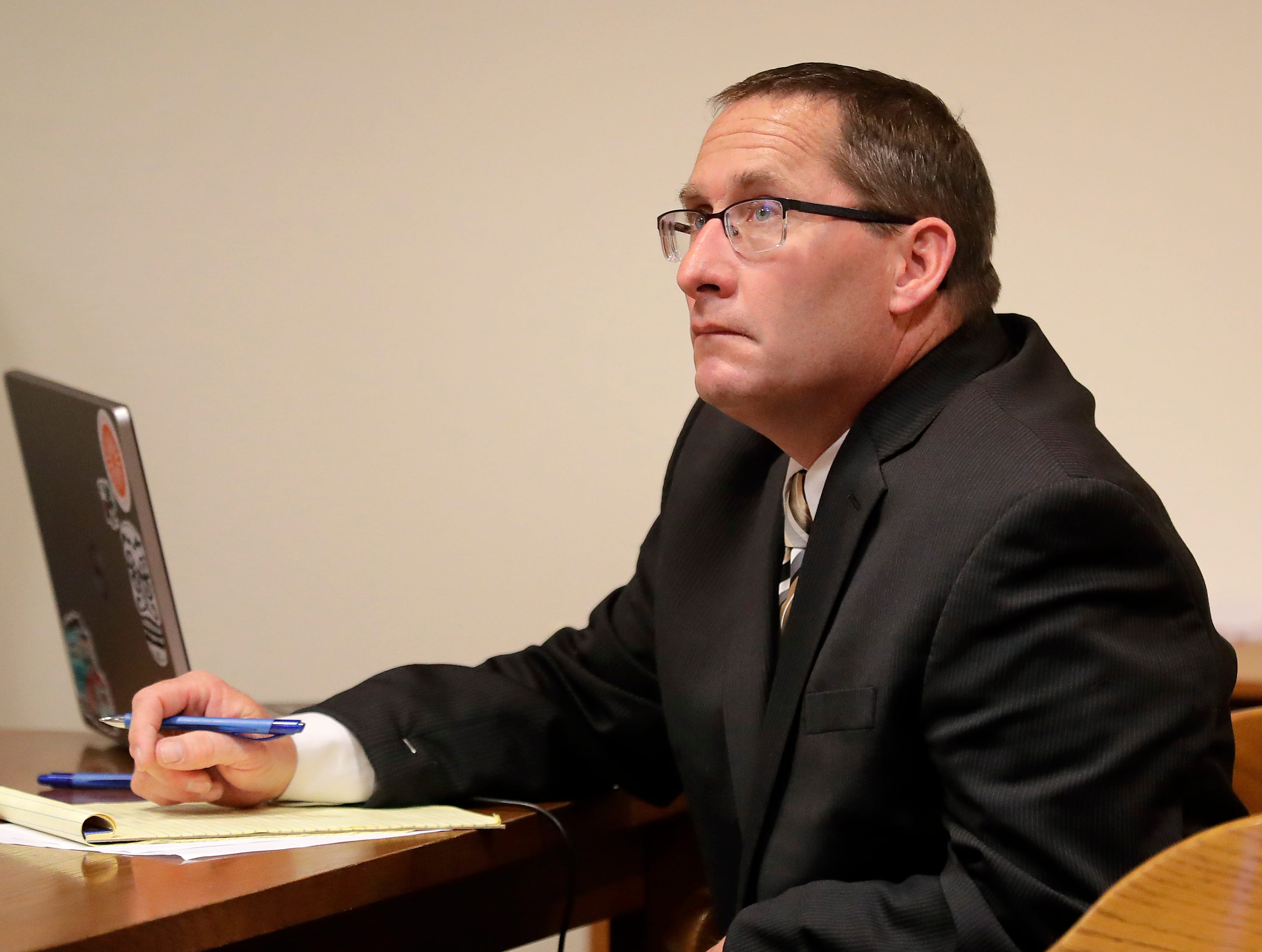 Jason Lavigne during day 1 of of a jury trial in Outagamie County Court on Tuesday, April 23, 2019, in Appleton, Wis. Lavigne is a former Little Chute High School teacher accused of sexually assaulting a 14-year-old student in 1999