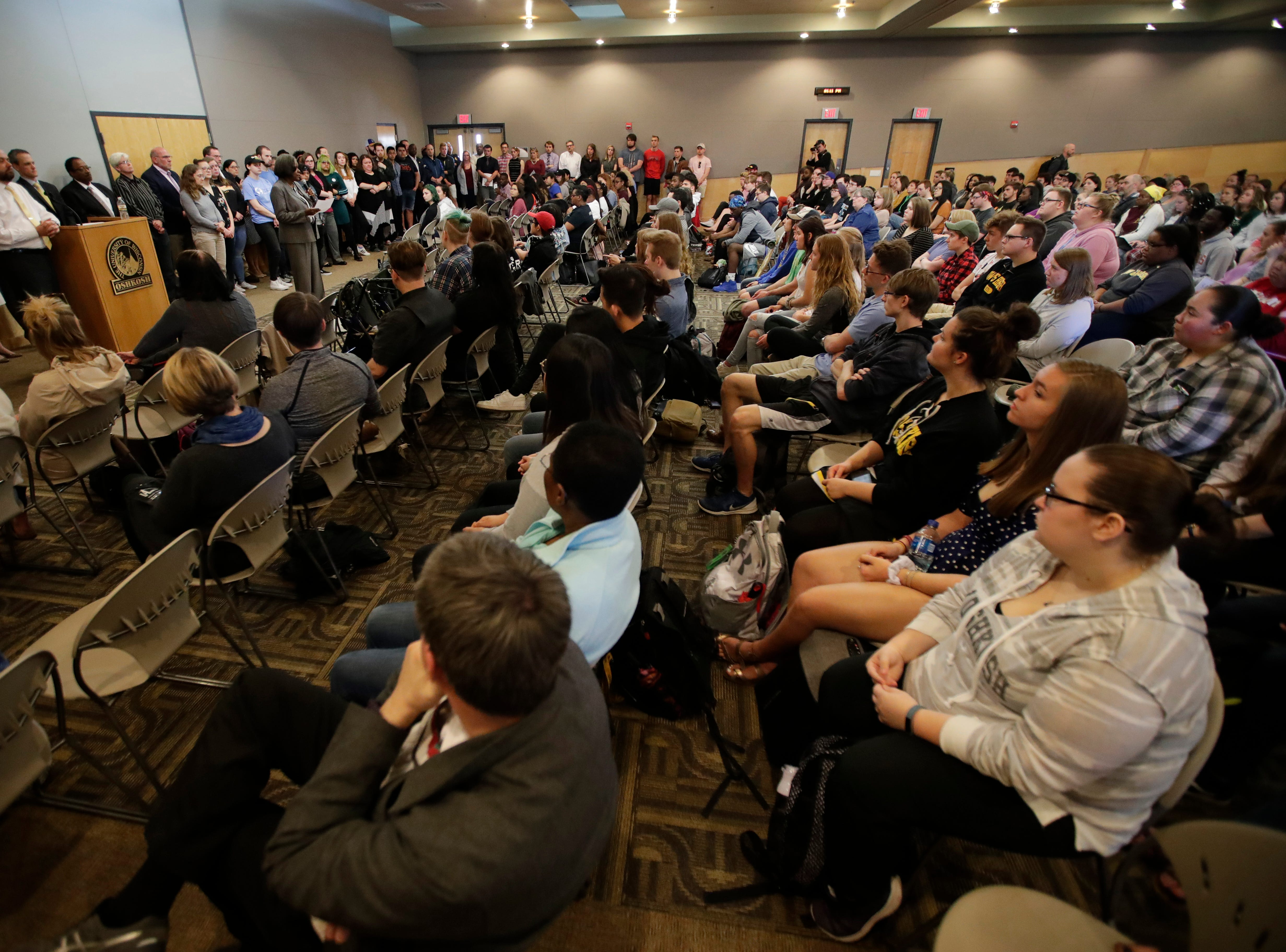 Sylvia Carey-Butler, associate vice chancellor for academic support of inclusive excellence, speaks to the crowd during a public forum regarding a viral social media post that showed racist messages that involved students Friday, April 26, 2019, at the University of Wisconsin-Oshkosh's Reeve Memorial Union in Oshkosh, Wis. 