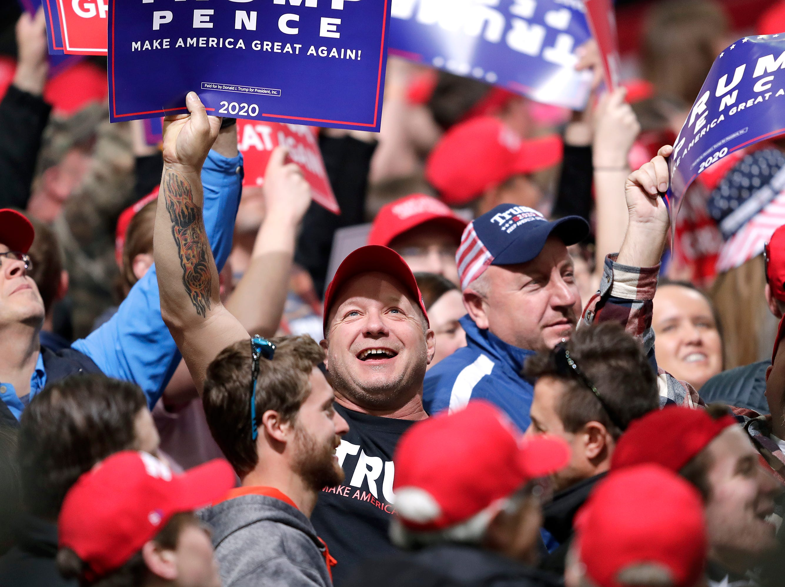 Supporters during a President Donald J. TrumpÕs Make America Great Again Rally on Saturday, April 27, 2019, at the Resch Center in Green Bay, Wis.
