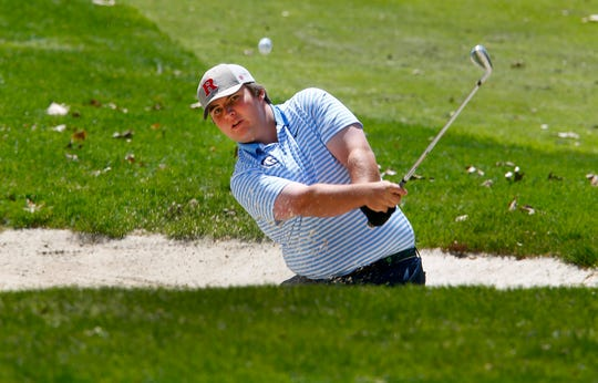 CBA's Brendan Hansen hits out of the sand on the 8th hole during the Boys Shore Conference Tournament at Charleston Springs Golf Course in Millstone Monday, April 29, 2019.
