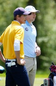 Toms River North's Connor Bekefi (left) and CBA's Jack Wall wait to tee off on the 15th hole during the Boys Shore Conference Tournament at Charleston Springs Golf Course in Millstone Monday, April 29, 2019.