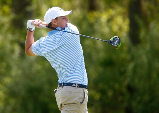 CBA's Jack Wall hits down the tees off on the 15th hole during the Boys Shore Conference Tournament at Charleston Springs Golf Course in Millstone Monday, April 29, 2019.