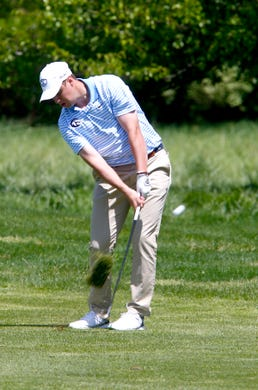 CBA's Jack Wall hits down the 14th hole fairway during the Boys Shore Conference Tournament at Charleston Springs Golf Course in Millstone Monday, April 29, 2019.