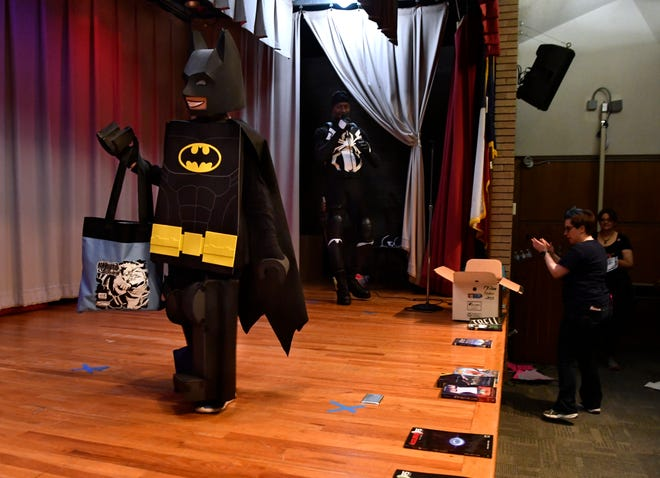 Joaquin De Leon, 9, won first place in the youth division for his homemade Lego Batman costume at Libcon's cosplay contest Saturday. The contest was held at the Main Branch of the Abilene Public Library.