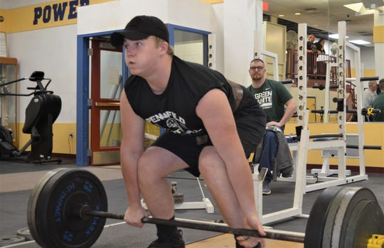 Pennfield's Donovan Eberhard gets set for the deadlift during the All-City Lift-A-Thon on Sunday.