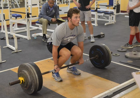 Lakeview's Jack Goodman gets set for the deadlift during the All-City Lift-A-Thon on Sunday.