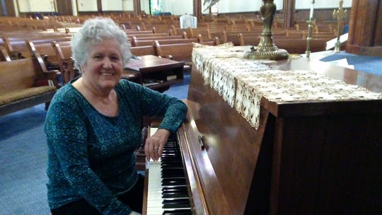 Judy Giblin, leader of Jazz Vespers at First Congregational Church Binghamton inside the church.