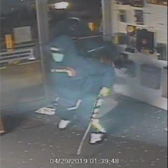 Three suspects in a burglary early Monday at Boerner Firearms in Gorst remained at large.