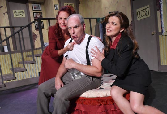 Adonna Niosi as Charlotte Hay, Dusty Ray as George, and Jessica Foix as Rosalind. Ken Ludwig's Moon Over Buffalo, at Surfside Playhouse in Cocoa Beach, is a madcap comedy set in the1950s, and will be performed from May 3-12.