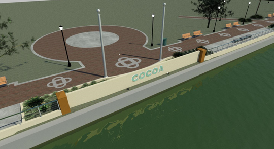 This artist's rendering depicts the future Cocoa Village boardwalk.