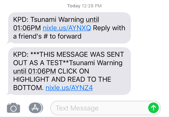 Pictured is a screenshot of a pair of messages sent via the Kingsville Police Department's Nixle alert service regarding a test message for a 'tsunami warning' on April 29, 2019.