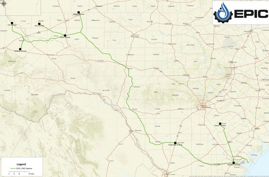 Pictured is a map of the route for the Epic Crude Pipeline that will run from Orla, Texas to Corpus Christi.