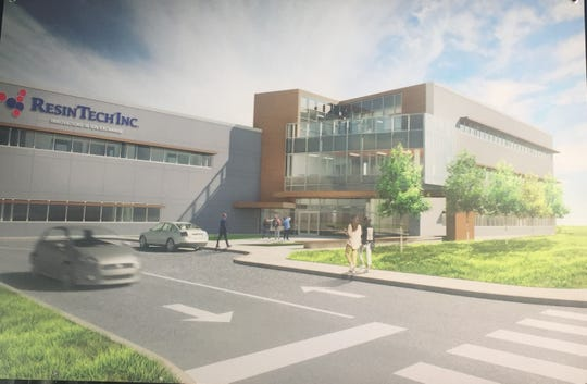 A rendering shows what ResinTech's Camden facility will look like when it's completed in 2020.