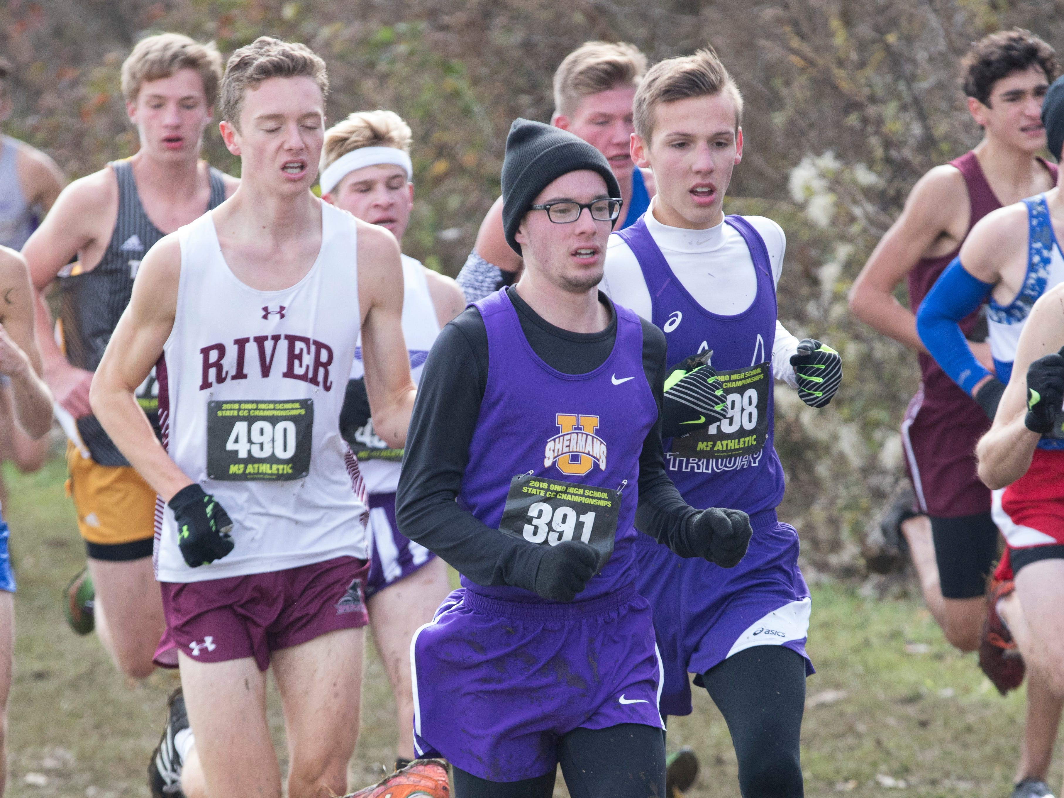 Unioto junior Eric Hacker (#391) competed in the 2018 OHSAA State Cross Country meet in Hebron, Ohio, on November 3, 2018. Hacker finished the race 56th out of 178 runners with a time of 17:32.7 seconds.