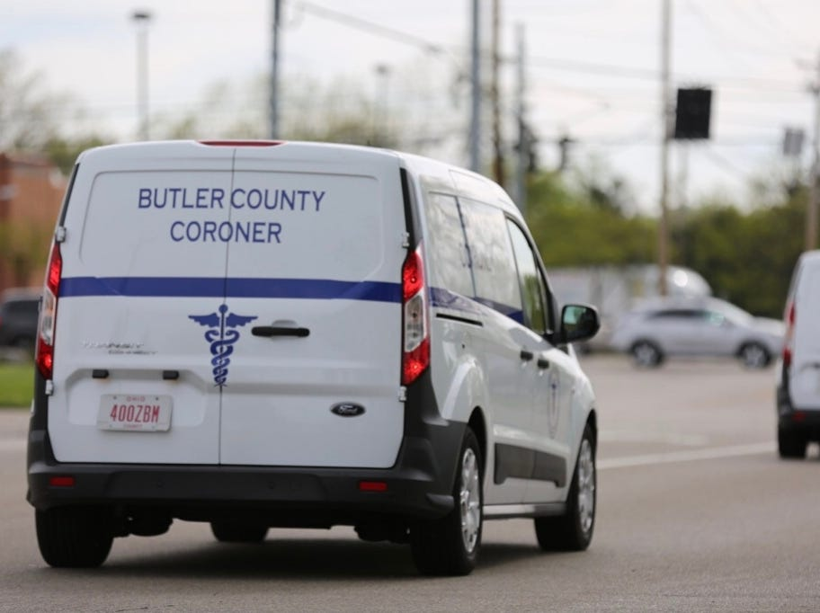 The second of two Butler County coroner vans leaves the Lakefront at West Chester complex on April 29, 2019, with four bodies from overnight incident.