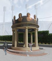 A rendering of the 1869 pavilion. The new public space will be dedicated on May 4, the 150th anniversary of the 1869 Red Stockings' first game.