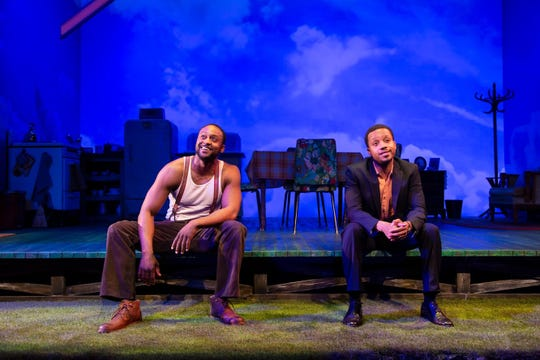 "Landon G. Woodson, left, and Donnell E. Smith in ""Too Heavy for Your Pocket,"" now playing at George Street Playhouse."